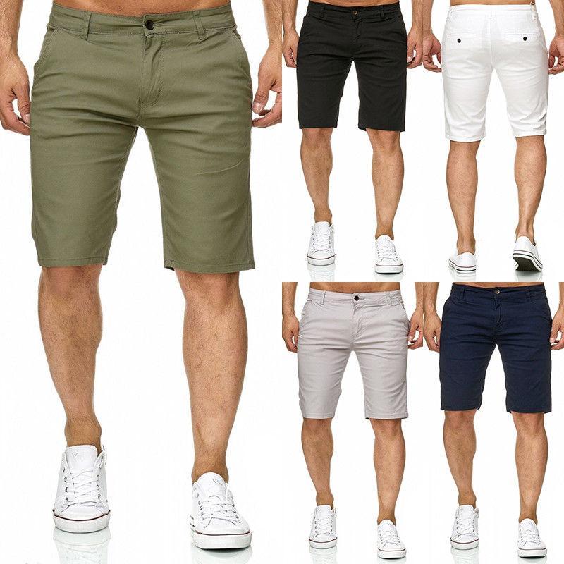 Homens frescos Slim Fit Mistura de Algodão Sólido Trabalho Macio Uniforme Na Altura Do Joelho Shorts Casuais de Verão Do Exército Verde Branco Preto Bege Shorts