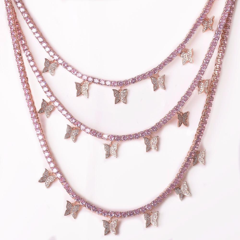 Hip Hop dei monili del progettista di lusso del pendente della farfalla di colore rosa zircone 4 millimetri 1 Row Tennis catena monili di Hip Hop di collegamento degli uomini Collana regolabile