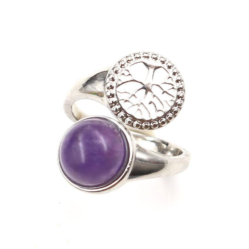 Wholesale 10 Pcs Personalized Silver Plated Round Cabochon Amethyst Stone Resizable Finger Ring Tree of Life Fashion Jewelr