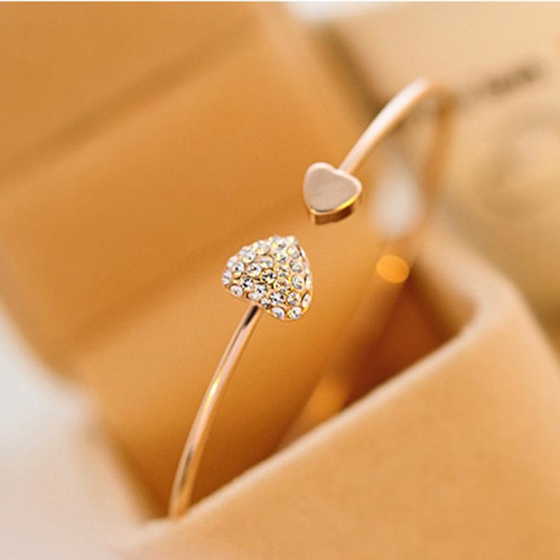 2020 neue Art und Weise verstellbare Öffnung Kristall Doppel-Herz Damen-Armband golden Silber Entwerferschmucksachen Öffnung Armband