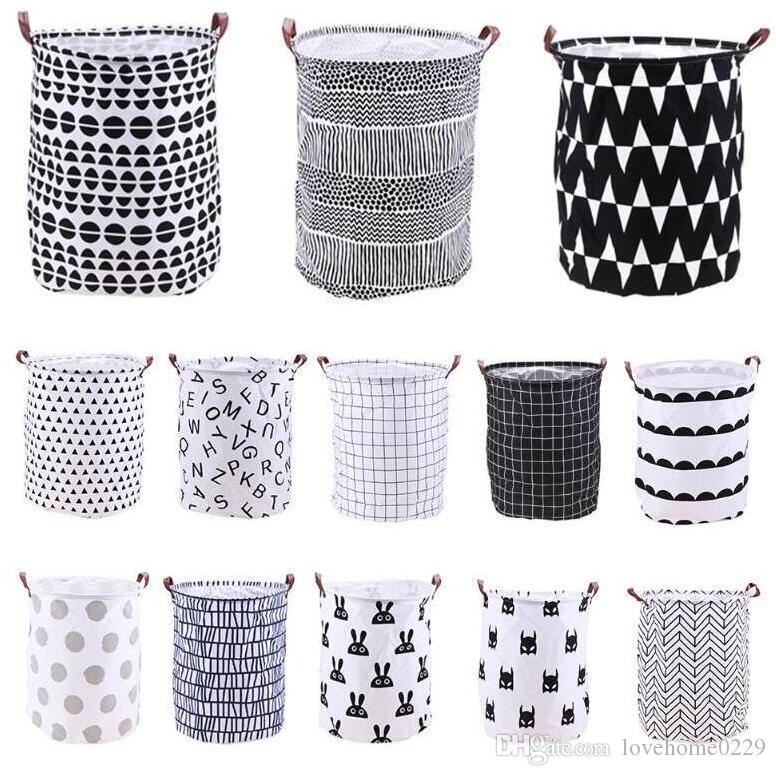 Home Folding Laundry Basket Cartoon Storage Barrel Standing Toys Clothing Storage Bucket Laundry Organizer Holder Pouch Free shipping