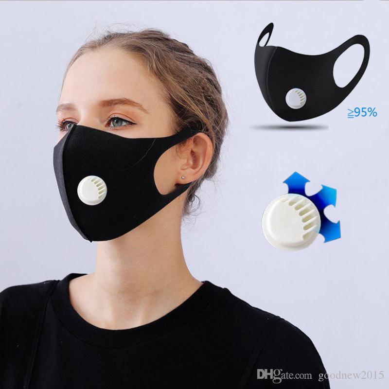 Máscara Unisex Sponge Dustproof Poluição Meia Face Boca com a respiração válvula alças largas lavável reutilizável Muffle Respirador