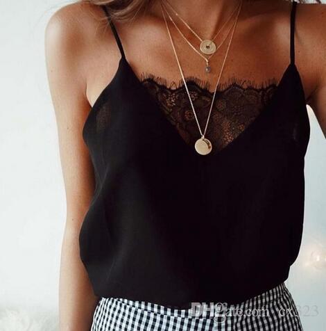 Casual Bayan T-shirt Dantel Seksi Moda Kaşkorse feminino Gömlek yelek mahsul en kadınlar yaz mahsul en artı boyutu blusas mujer de # F