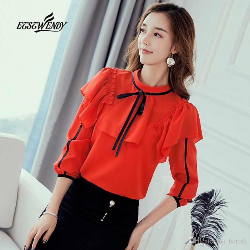 O-Ansatz lange Hülsen-beiläufige Chiffon-Bluse Herbst 2019 Korean Red White Hemden nehmen Rüschen Damen Street elegante Damen Tops
