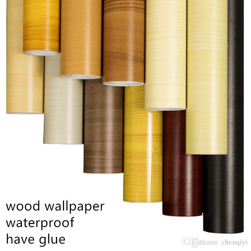 home decor Self-adhesive thick waterproof pvc wood grain stickers Boeing film wallpaper wardrobe cupboard old room door furniture renovation