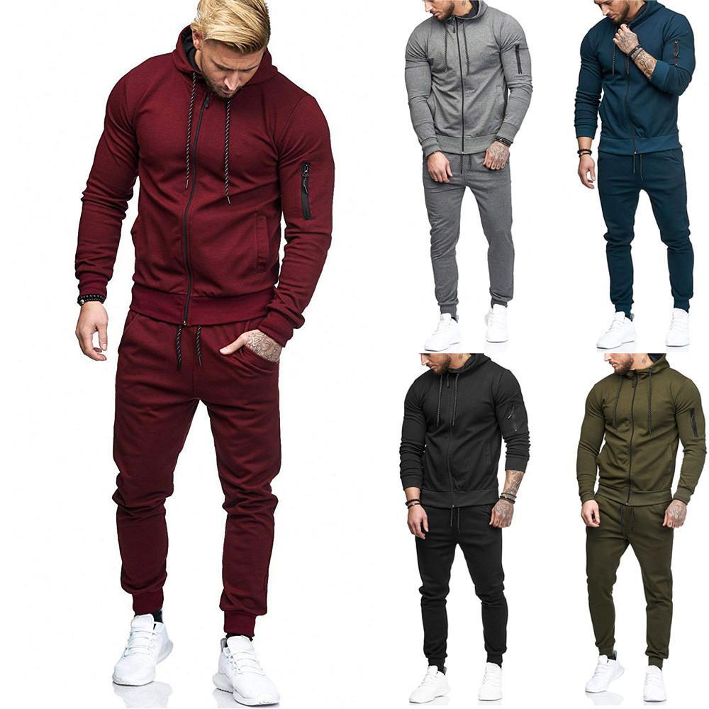homens hoodies com calças moletom mens sportswear terno bluzy meskie definir Treino sudadera hombre d90520