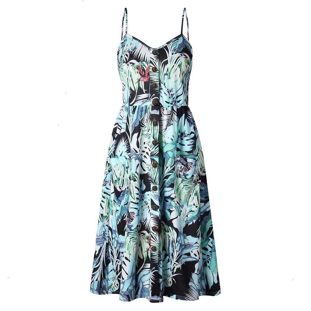 Designer-Kleid-Frauen Kleidung Knopf 2019 Floral reizvolle beiläufige Strap Lange Boho böhmische Strandtaschen-Frauen-Kleid Vintage-Designerkleidung