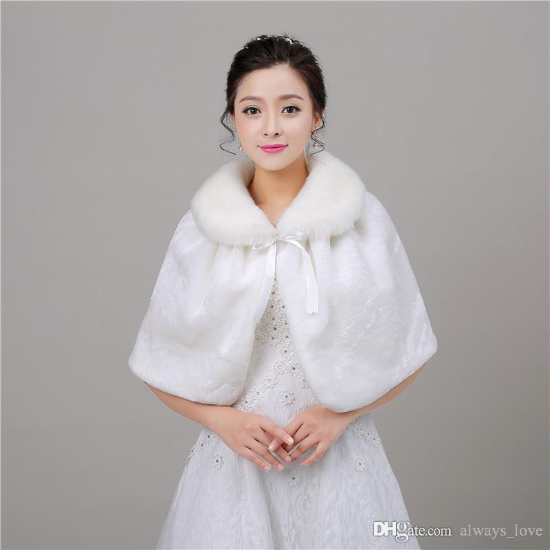 2019 New Arriva Elegant Cheap In Stock Bridal Faux Fur Wedding Wrap Cape Shawl Jackets Coat Bolero Tippet Stole PJ003