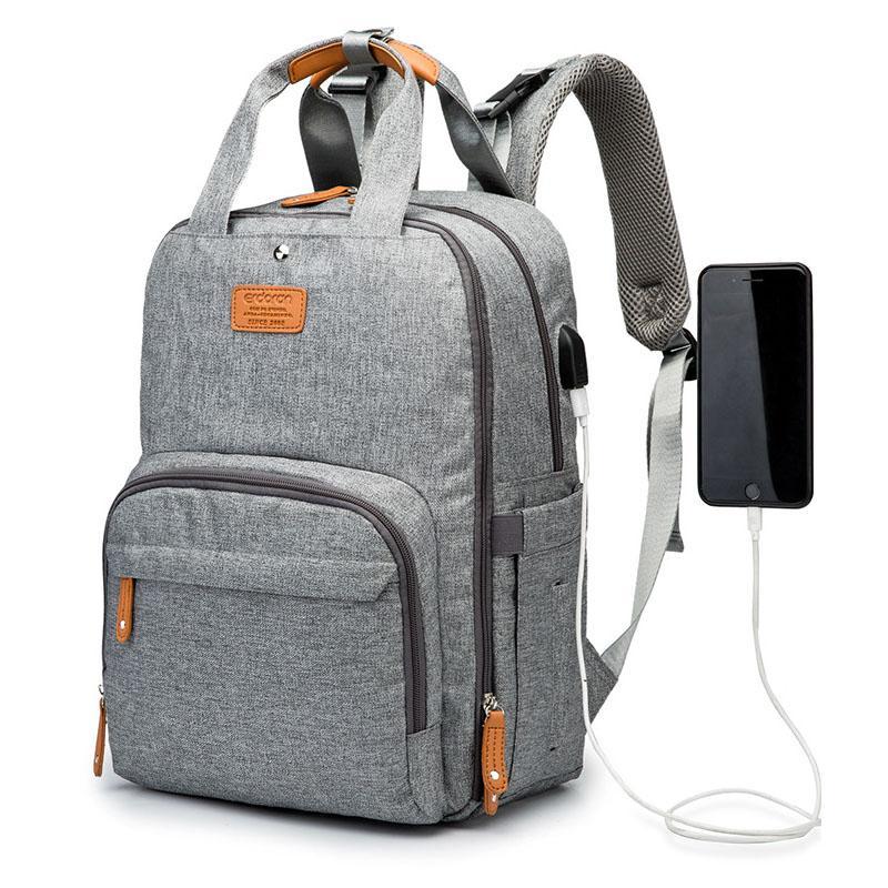 Anne çantası, USB bebek bezi çantası bebek bakımı büyük kapasiteli anne sırt çantası anne anne kuru ve ıslak ayırma bebek hamile kadın bezi