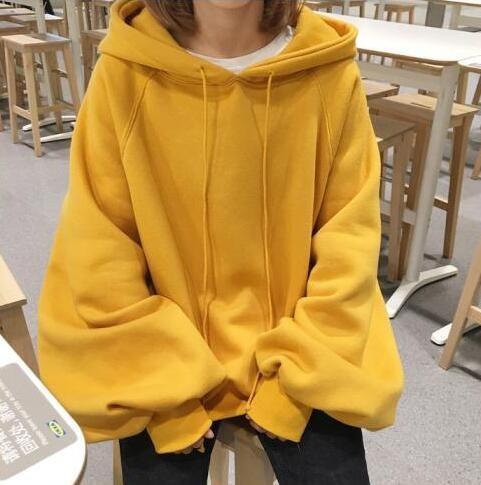 새로운 여성 한국어 느슨한 졸라 여성 후드 랜턴 소매 거리 스웨터 탑 단색 양털 코트 여자 특대 노란색 후드
