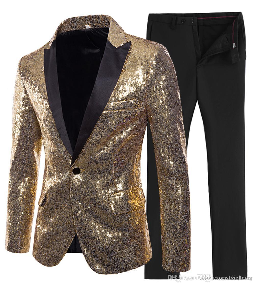 2019 New Designs Wedding Men Suit 2 Pieces Shiny Sequin Mens Suit Slim Fit One Button Peak Notch Lapel Tuxedo for Wedding (Blazer+Pant)
