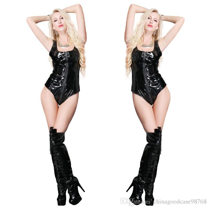 Sexy PVC nero donne Catsuit in pelle con cerniera senza maniche Tuta Fetish con apertura sul cavallo Teddy Lingerie Erotic Clubwear Costumi