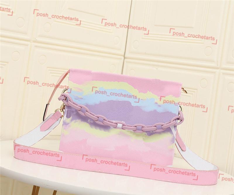 Sac de toilette de concepteur avec sac de toilette à cravate à bandoulière large avec sac cosmétique de chaîne en plastique