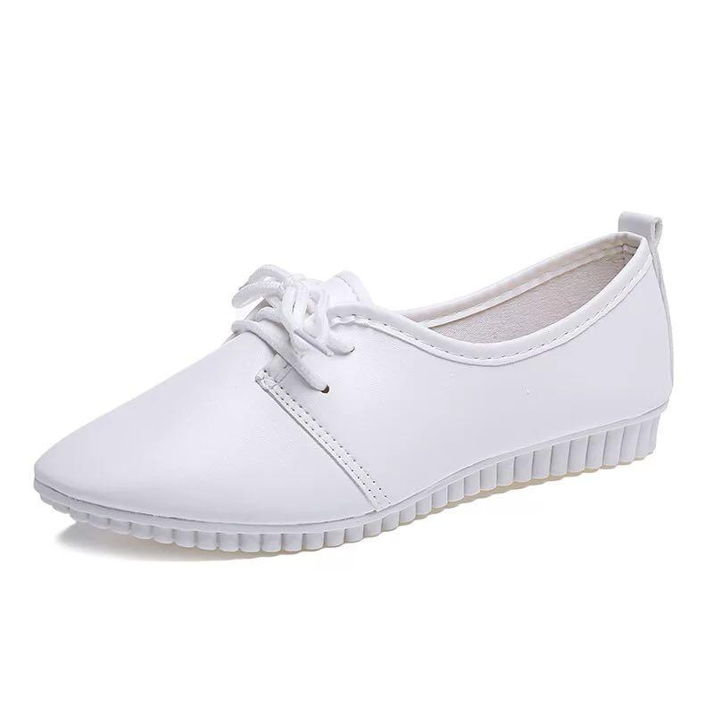 White Nurse Shoes Lace Up Flats Casual