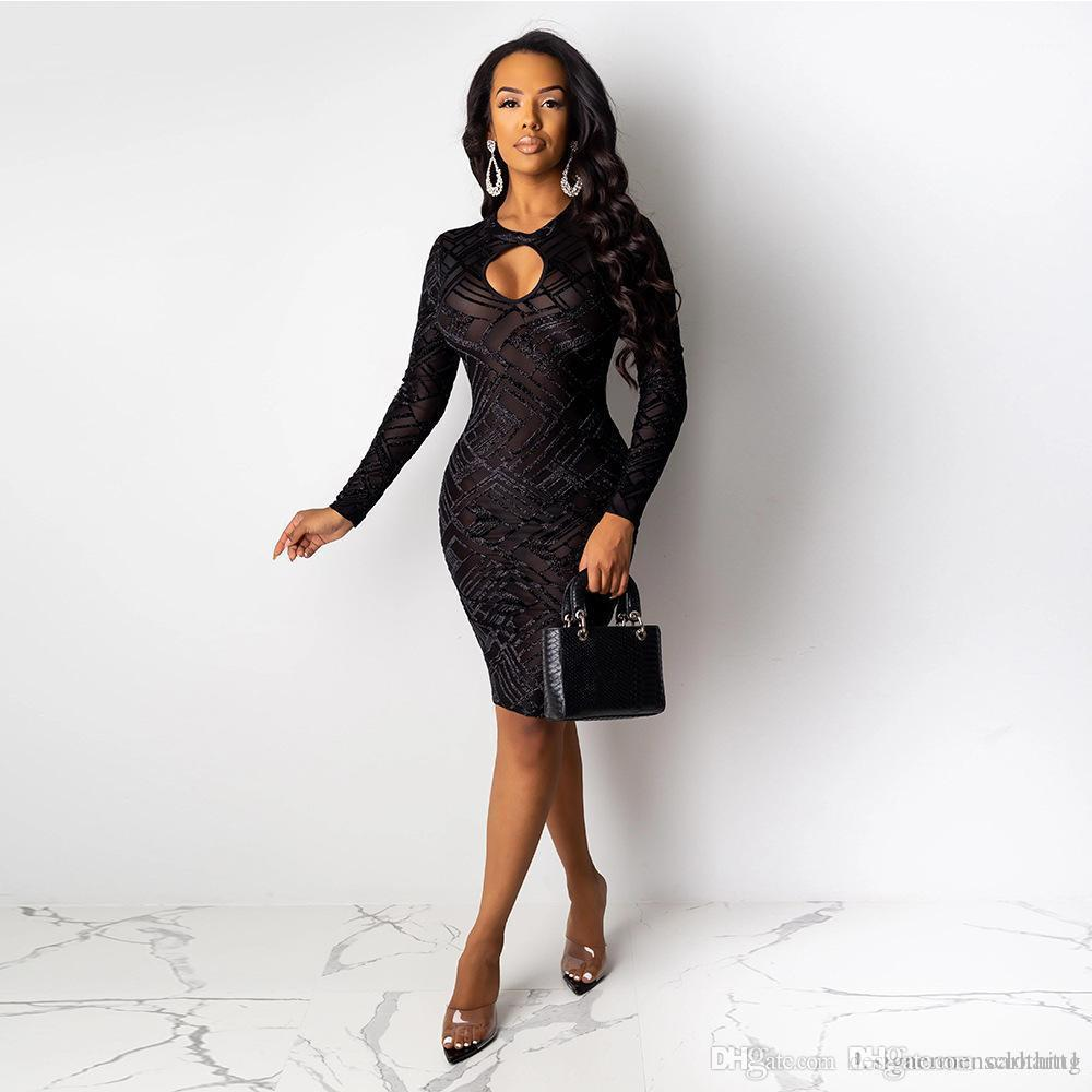 Uzun Kollu Ekip Boyun Bayanlar Bodycon Elbiseler Moda Sıska Kulübü Elbiseler Seksi Kadınlar Siyah Elbise Oymak