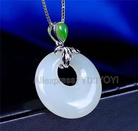925 Gümüş Beyaz Yeşil Hetian Yeşim Yuvarlak Dangle Şanslı Seksi kolye + Zincir Kolye Charm Güzel Takı Charm Hediye