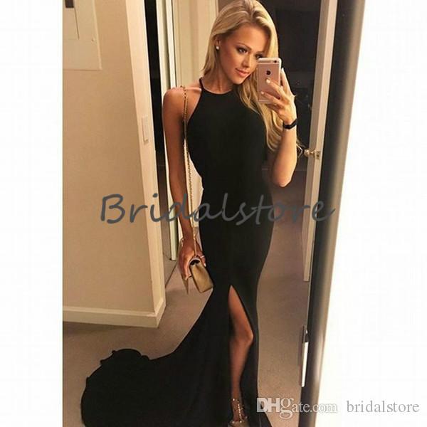 Semplici abiti da ballo con spacco nero gioiello scollatura a sirena treno sweep sexy abiti da sera lunghi backless 2019 vestito da laurea per ragazze