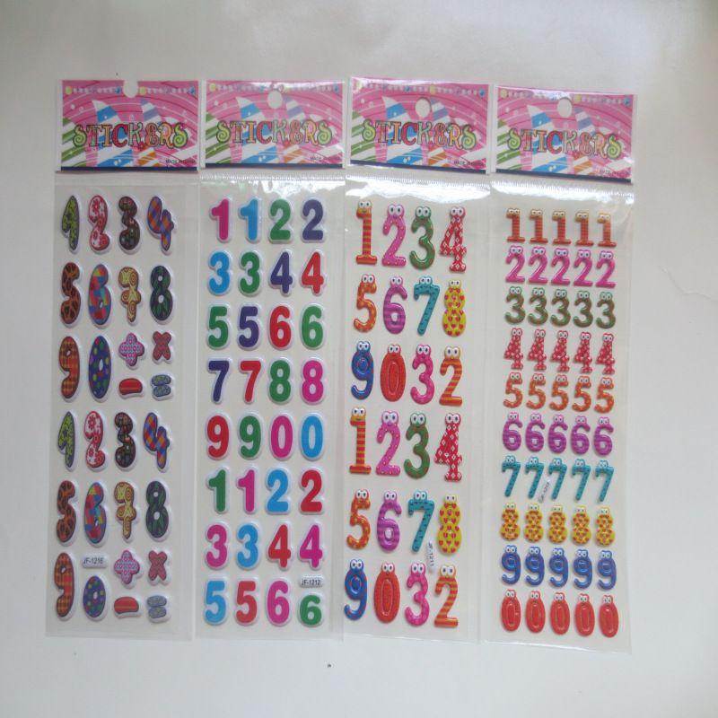 100pcs Cute Kawaii Numbers Letter Symbol Scrapbooking Bubble Puffy Stickers Emoji Teacher Reward Kids Toy Factory Direct Sales