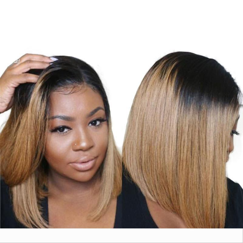 1B 27 Breve Ombre Glueless piene del merletto Bob parrucche dritto anteriore del pizzo di donne brasiliane capelli umani di Remy parrucche per neri parrucca dei capelli del bambino