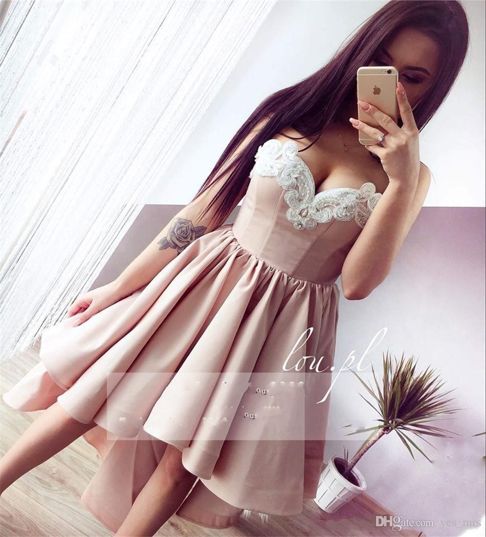 2020 vintage barato blush cor-de-rosa cetim mulheres vestidos de cocktail sweetheart vestido de alto comprimento branco laço appliques vestidos de reembolso