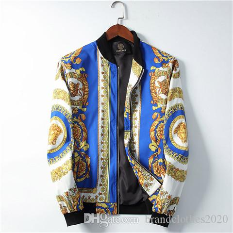 Top Quality Fashion Designer V Letter Casual Jackets #006 Europe ROMA Off Luxury Gorgon pattern Men Autumn Winter Zipper White 3D Print Coat