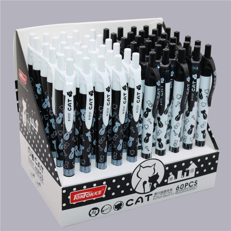 60 PCS durable motif de chat stylo à bille 2 couleur stylo à bille de papeterie 0.5mm bleu d'encre bleue fournitures de bureau papeterie cadeau
