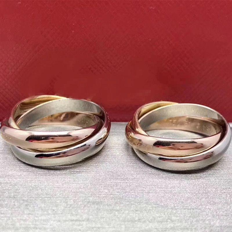 Moda a tre anelli paio anello per gli uomini di modo delle donne stile semplice Anelli con tre colori in oro rosa di amore squilla il trasporto libero