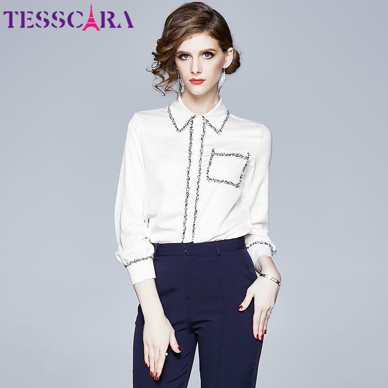 TESSCARA женщины Весна элегантный белый блузка рубашка женская мода топ дизайнер партии шифон сорочка офис женские топы блузки