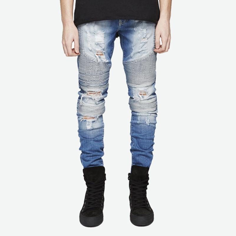 Mode Hommes Jeans Trou Ripped Hip Hop Pantalons Streetwear Slim Striped Homme longues Pantalons Jeans de haute qualité