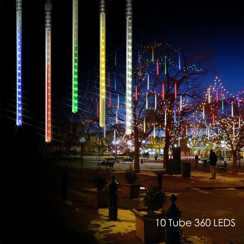BRELONG Solar Meteor Shower Rain Lights, 10 Tube 360 LEDs Outdoor Christmas String Light, Solar Powered Waterproof Snow Falling Raindrop
