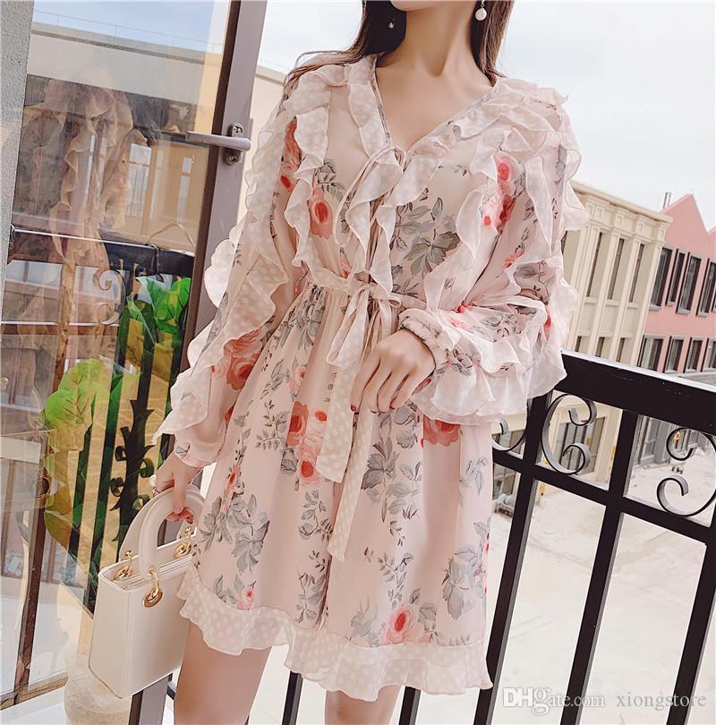 2020 Pista de la moda Playuit de verano Vestidos de mujer Estampado floral de manga larga de manga larga Chiffon Sexy V Cuello Primavera Monos Muñamita Mono de mujer