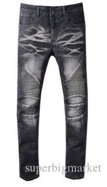 Hommes Jeans Slim Fit Jeans Hommes Ripped Salut-rue Hommes Distressed Denim Joggers trous de genou Washed Détruit 22 style de couleur Jeans