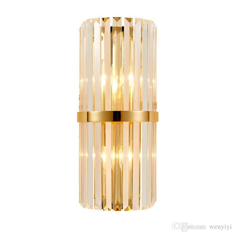 Modern LED Kristal Duvar Işık Yaratıcı Tasarım Altın Ev Dekorasyon Aydınlatma Armatürü Yatak Odası Koridor Duvar Aplik Lamba