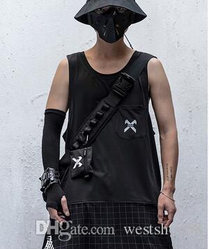 Noir Harajuku Patchwork Plaid Vest Tanks Hauts Hipster hommes / femmes Hip Hop Chemises manches T-shirts