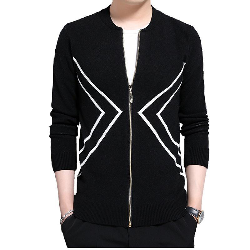 Новая мода Люди Вязаный кардигана застежка-молния для Slim мужских свитеров пальто вскользь Кардиган