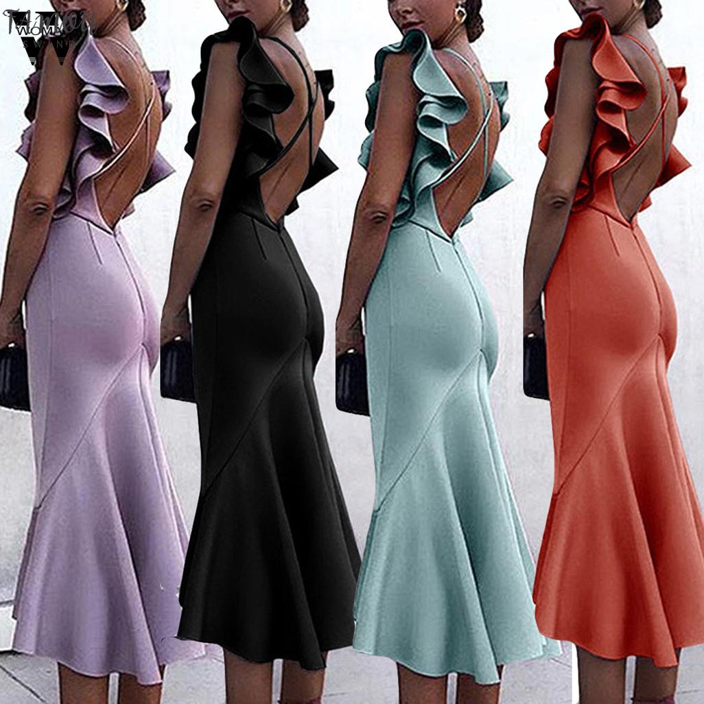 dress woman NEW Summer Sexy V-Neck Short Sleeve Solid Long Dress Holiday party elegant fashion Beach Long Dress 2020 A16