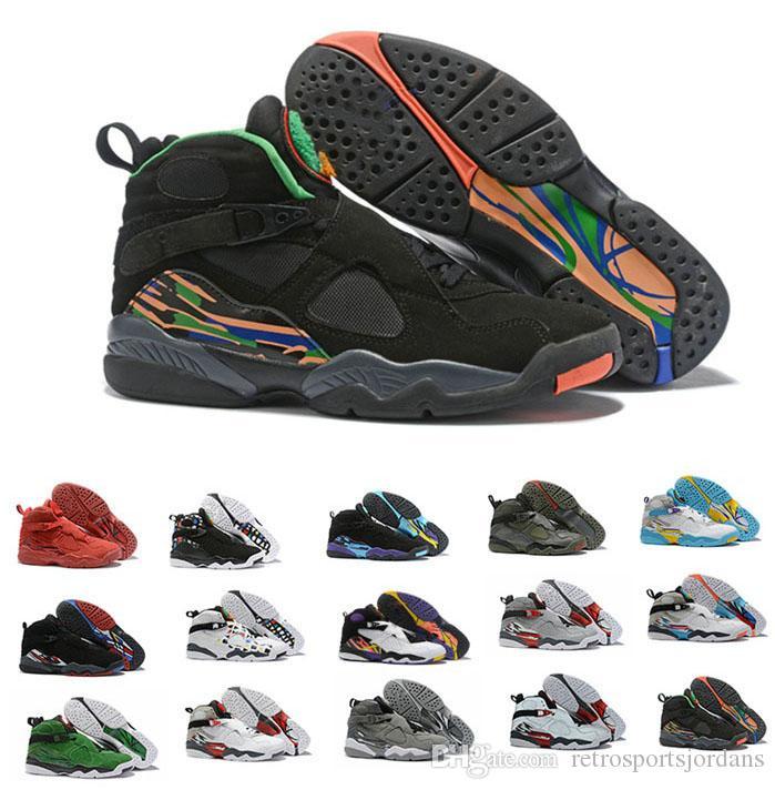 أحذية بيضاء أكوا الثامن 8S مع مربع كاي 54 ساوث بيتش أحذية كرة السلة بلاي أوف 8S المدربين ثلاثة الجفت عيد