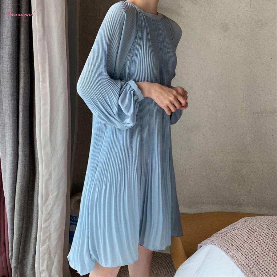 2020 New Korean Summer Fashion Women Clothes Vacation Dresses Lantern Sleeves Pullover Loose Chiffon Dress Pleated Wg686 White Prom Dress Girl Dress From Modeng10 21 09 Dhgate Com