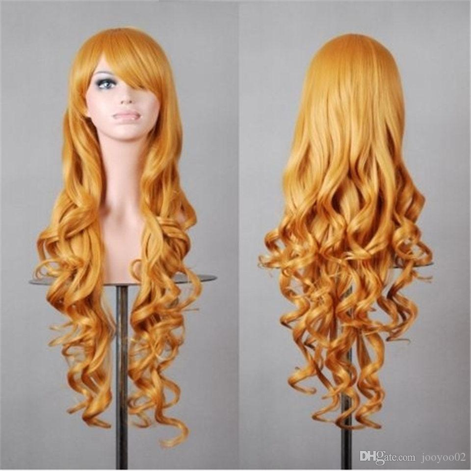 28 Inch Multi-color Optional Hot Sale Mechanism High Temperature Silk Fashion Trend Long Curly Chemical Fiber Wig Set