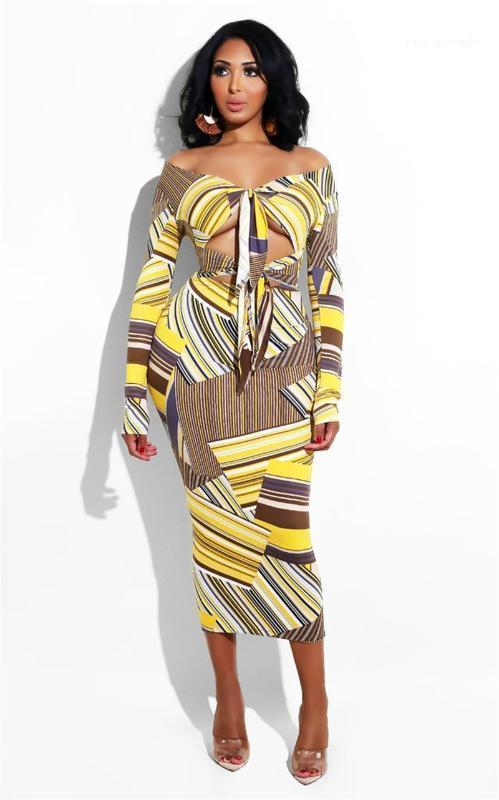 Club sottile da estate del progettista delle donne Bodycon Abiti Moda a righe stampato sexy del nastro Decorashion Dress Notte