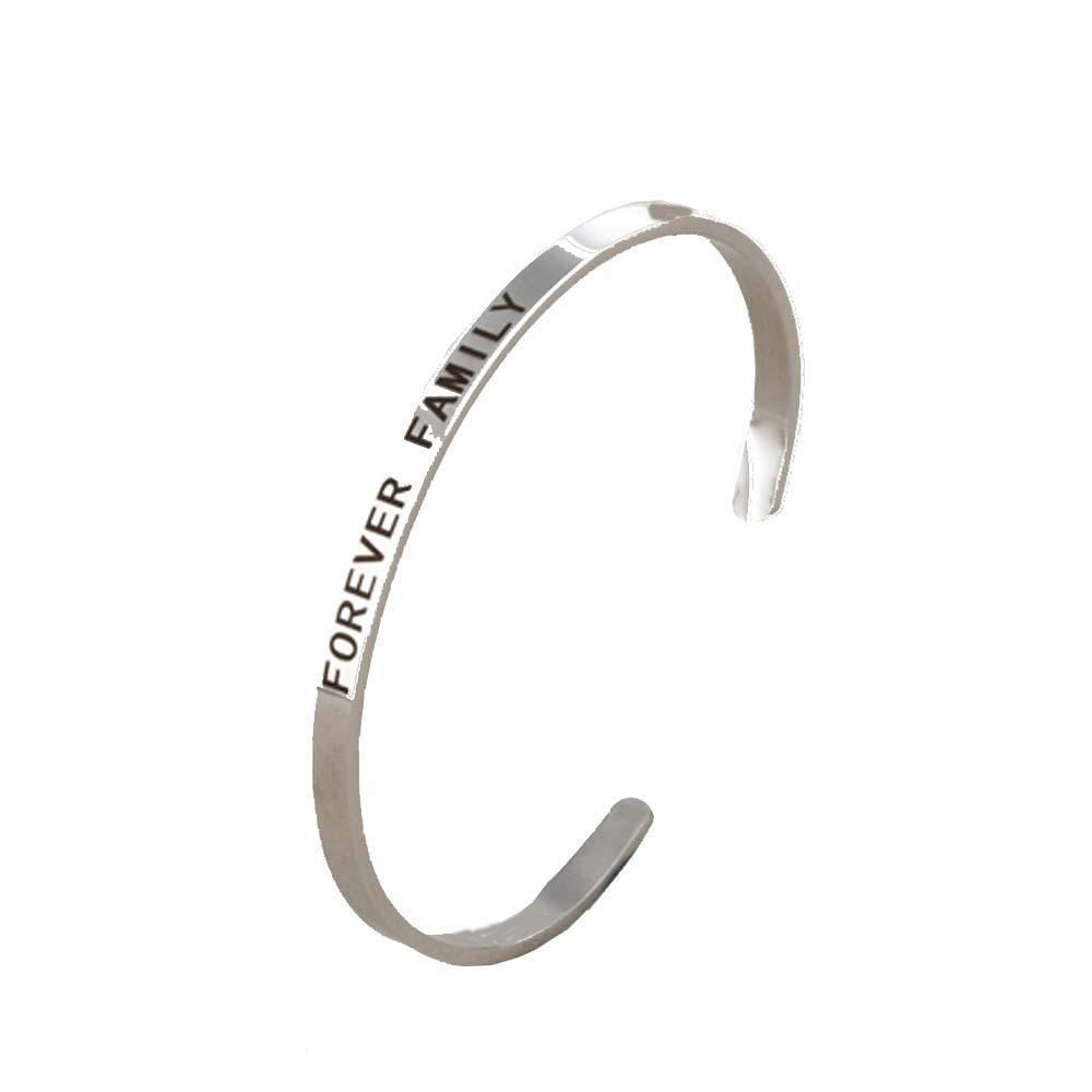 Grado superior de acero inoxidable Cuff brazaletes mujer de la joyería de los hombres pulseras letras familia para siempre Inspirado Pareja grabado regalo mm 4 mm