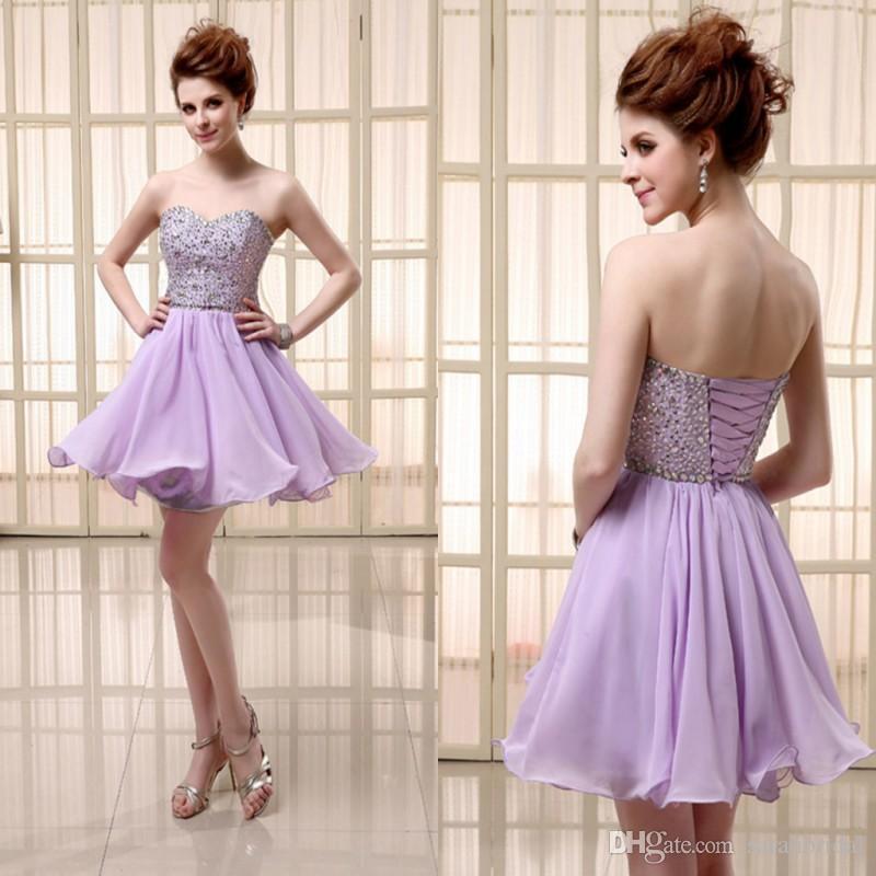 Pas cher courte robe en mousseline de soie lilas avec dentelle jusqu'à chérie paillettes et perles robes de soirée de bal sur mesure SD103