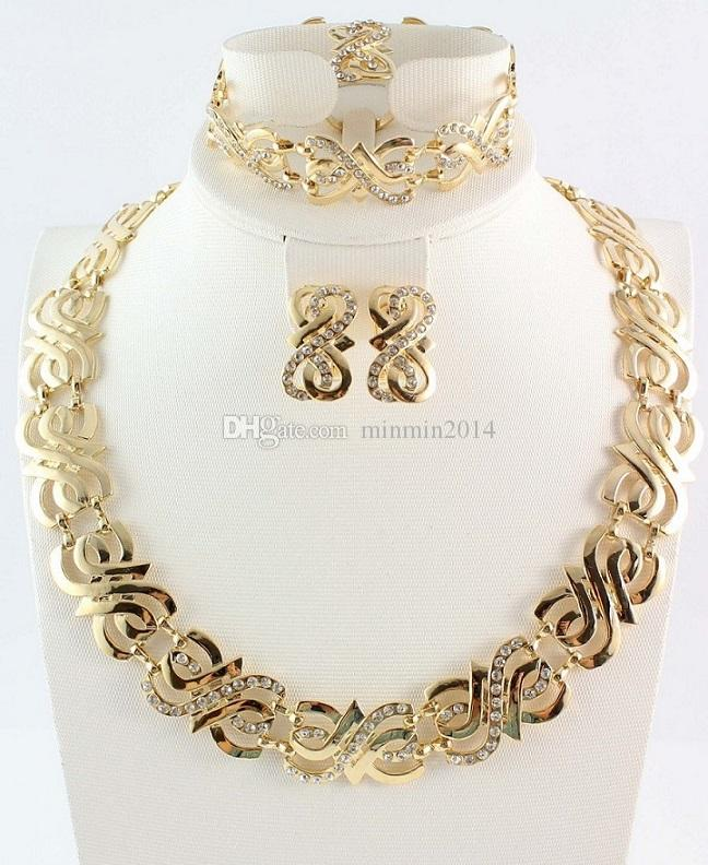 النساء الزفاف الكريستال مجموعات المجوهرات ggold الفضة مجموعات اللون قلادة القرط حلقة سوار مجموعات المجوهرات الأفريقية مجموعات المجوهرات