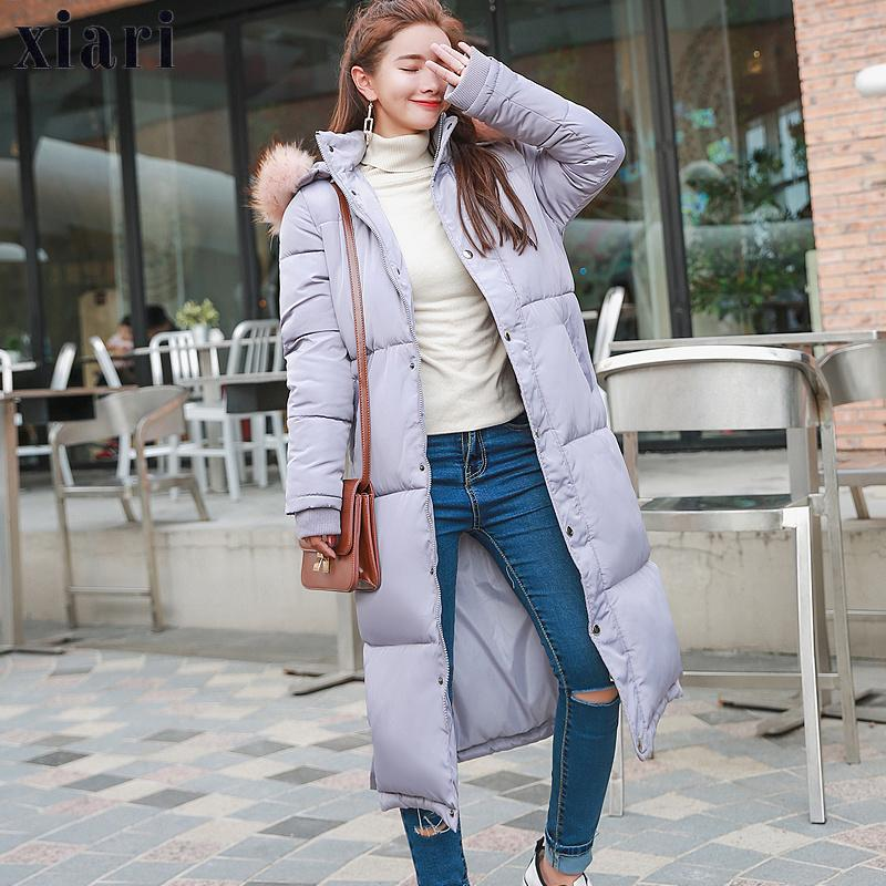 Fashion-Winter Jacket Women 2018 Middle Long Cotton-padded Jackets Big Fur Hooded Collar Parkas Thicken Warm Winter Coat Female