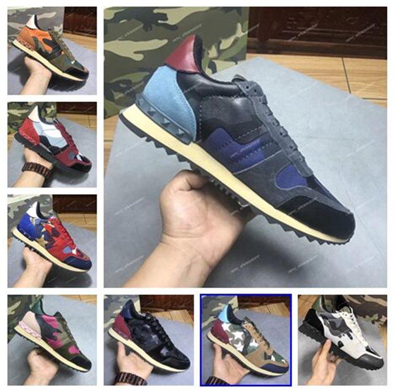 Yeni Moda Stud Kamuflaj Sneakers Ayakkabı Ayakkabı Erkek Kadın Flats Rockrunner Eğitmenler Casual Ayakkabı Sneakers chaussures