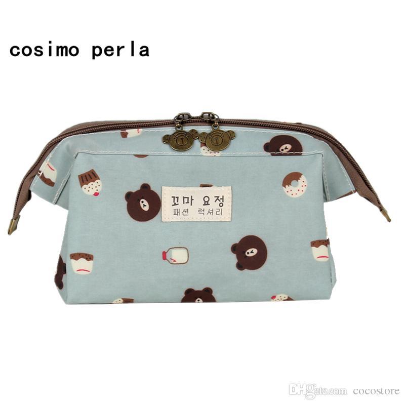 INS Cartoon Printed Cosmetic Bag 더블 지퍼 방수 나일론 세면 가방 한국 스타일의 박스 여행 여성 메이크업 케이스