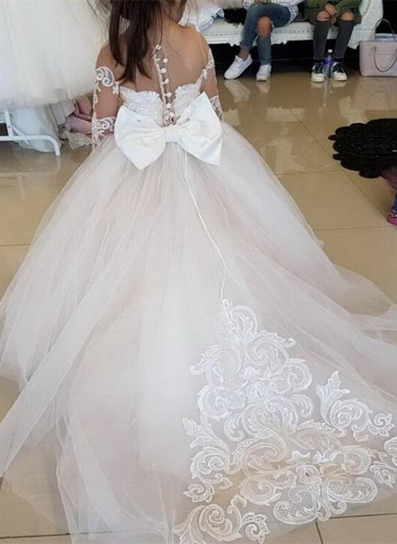 Elegante ragazza della principessa fiore abiti Fluffy Tulle maniche lunghe in pizzo Appliques abito di compleanno per bambini prima S. comunione abiti