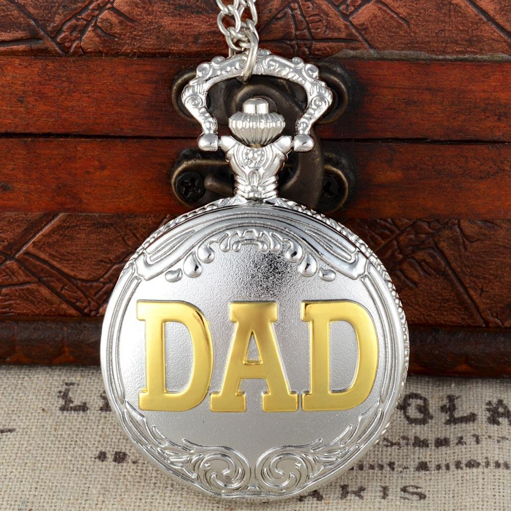 Silber und Gold Dad Theme Vollquarz Gravierte Fob Retro Anhänger Taschenuhr Kettengeschenk