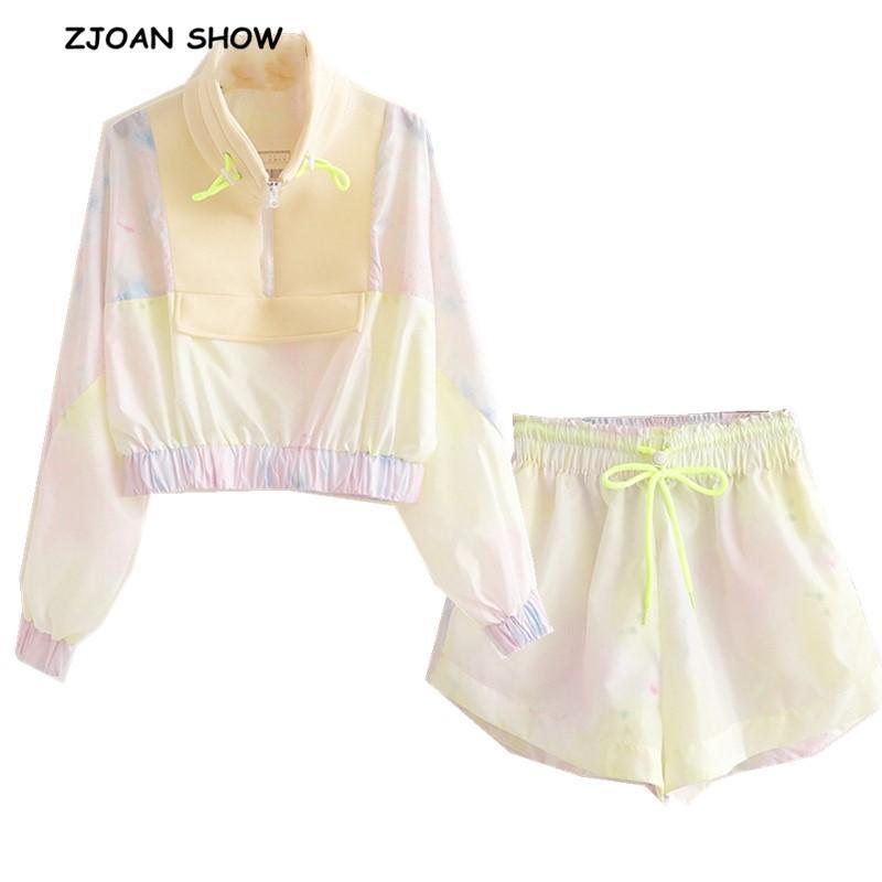 2019 neue Tie färben Print Kurze Pullover Jacke Lässige Frauen Elastische Taille Mini Kurze Shorts Langarmshirts 2 Stücke Set