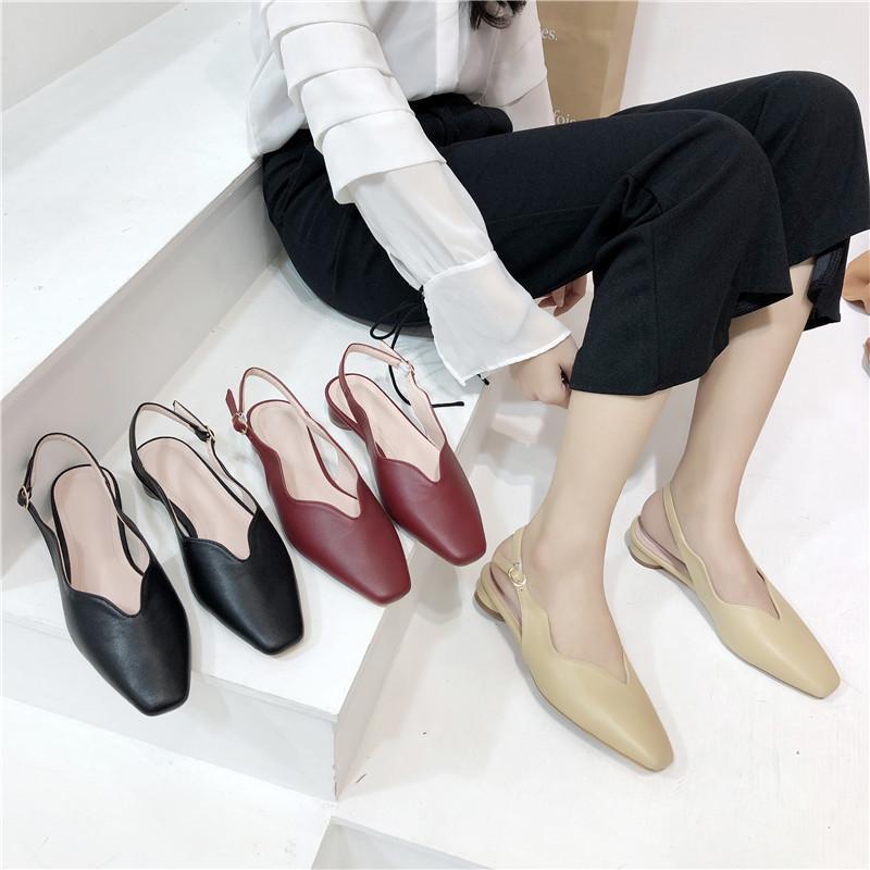 Magnífico2019 Con escofina baja Baotou Calzado sencillo Parte posterior plana Sandalias de temporada con fondo plano Zapatos de mujer Xia Baida